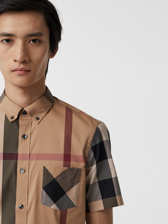Short-sleeve Check Stretch Cotton Blend Shirt in Camel - Men | Burberry - cell image 1