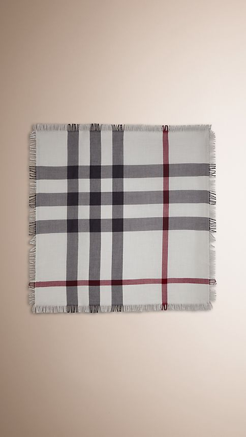Ivory check Check Wool Square - Large - Image 3