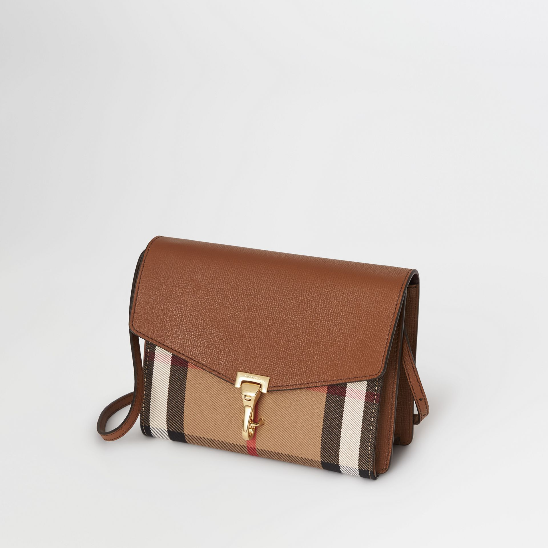 Small Leather and House Check Crossbody Bag in Tan - Women | Burberry Hong Kong - gallery image 4