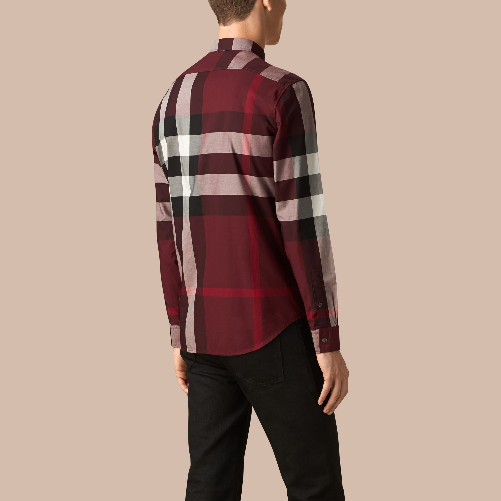 Claret Check Cotton Shirt Claret - gallery image 3