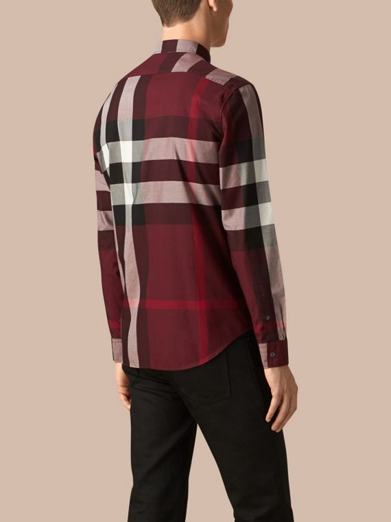 Claret Check Cotton Shirt Claret - cell image 2