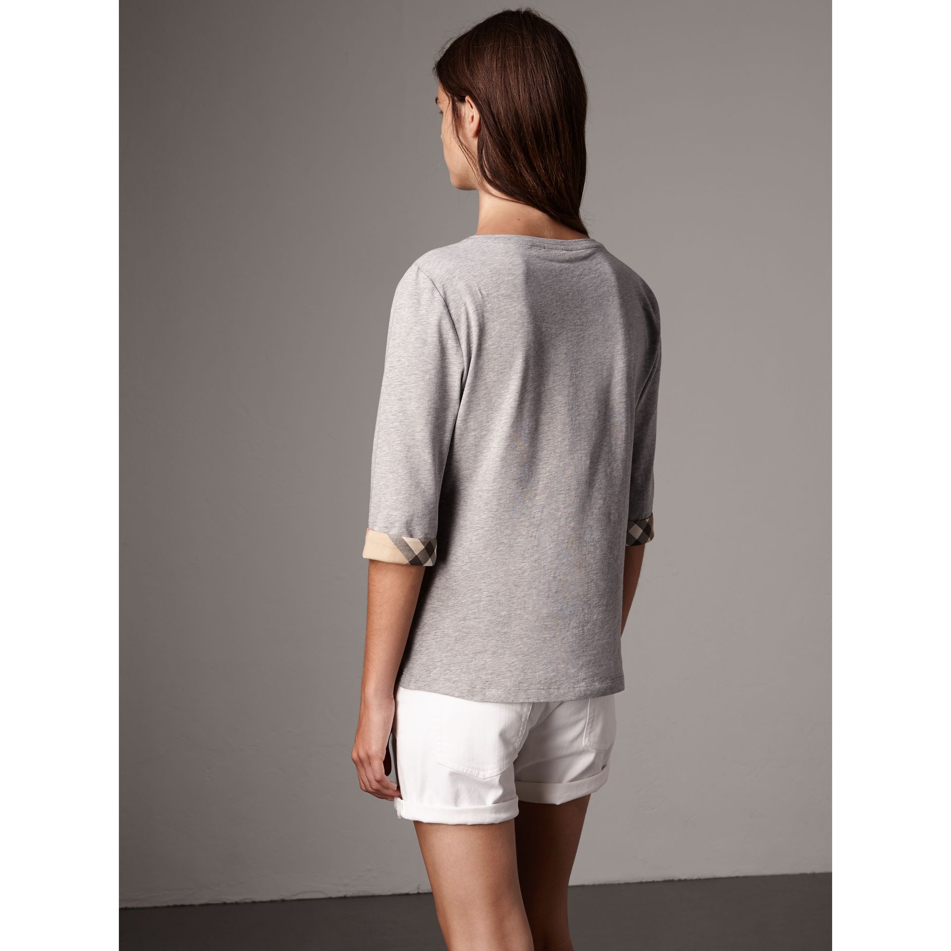 Check Cuff Stretch-Cotton Top in Pale Grey Melange - Women | Burberry Australia - gallery image 3