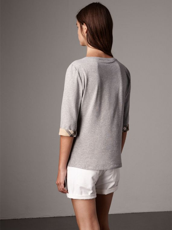 Check Cuff Stretch-Cotton Top in Pale Grey Melange - Women | Burberry Australia - cell image 2