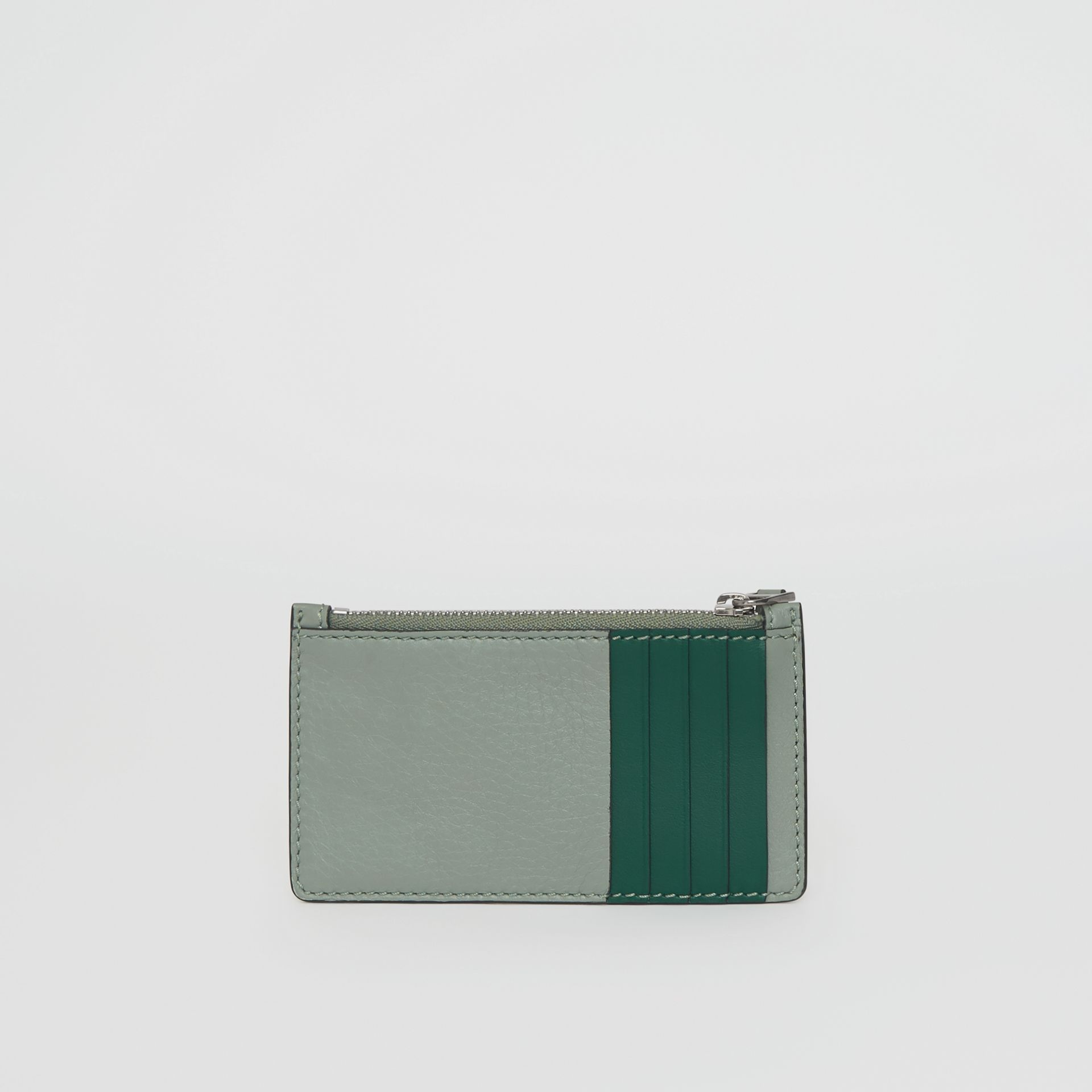 Two-tone Leather Card Case in Grey Blue - Women | Burberry Singapore - gallery image 0