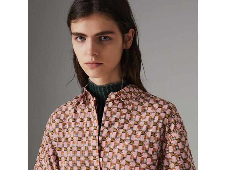 Tiled Archive Print Cotton Shirt Dress in Pink - Women | Burberry United Kingdom - cell image 1