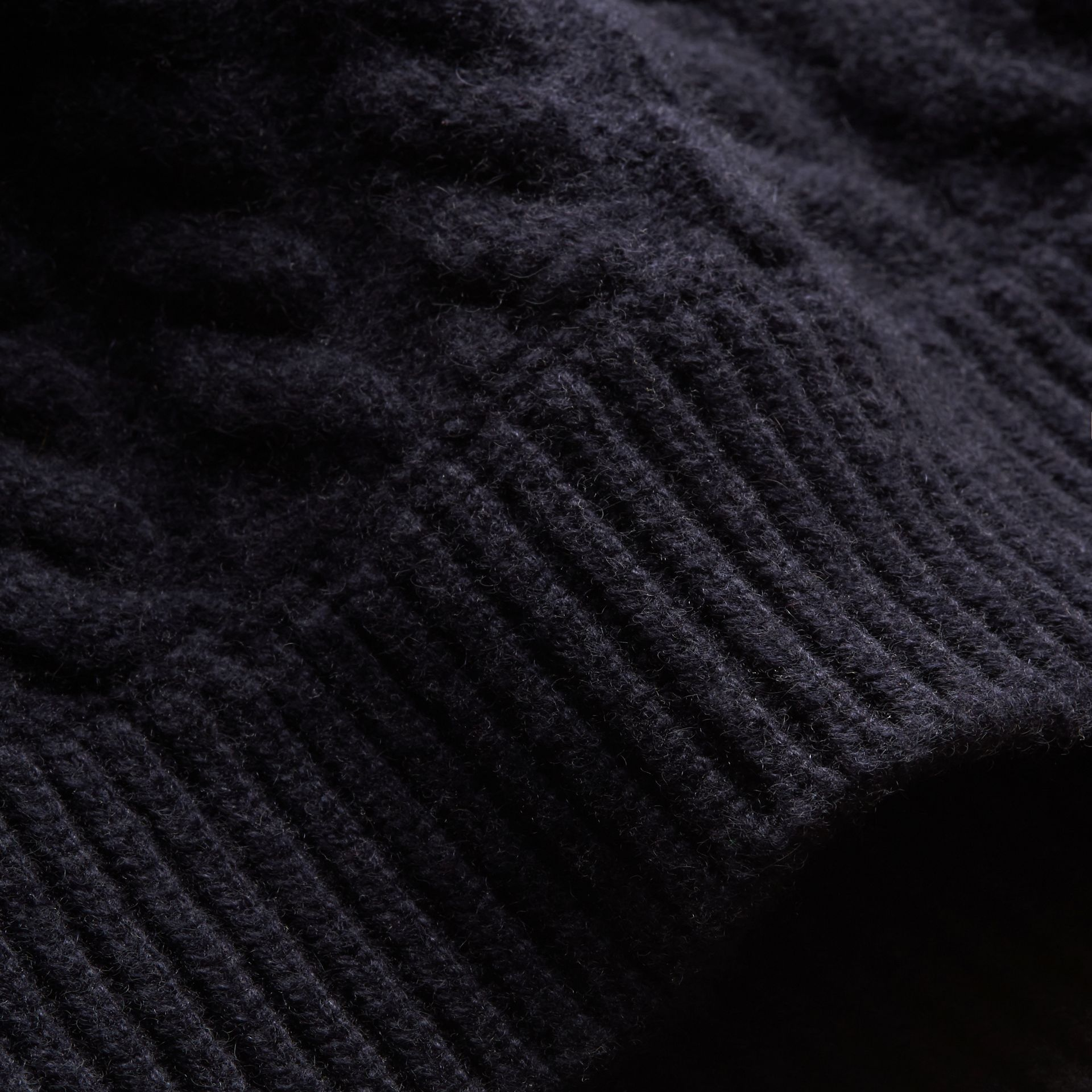 One-shoulder Cable Knit Cashmere Sweater in Navy - Women | Burberry - gallery image 2