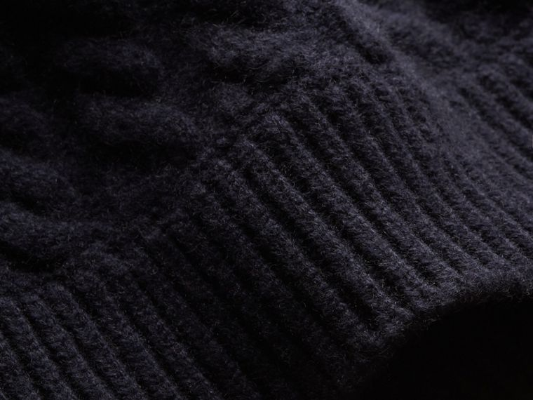 One-shoulder Cable Knit Cashmere Sweater in Navy - Women | Burberry - cell image 1