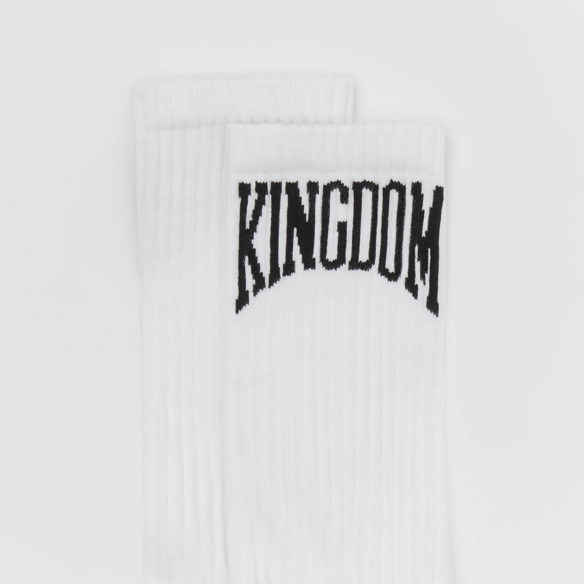Kingdom Intarsia Cotton Blend Socks in White | Burberry - gallery image 1