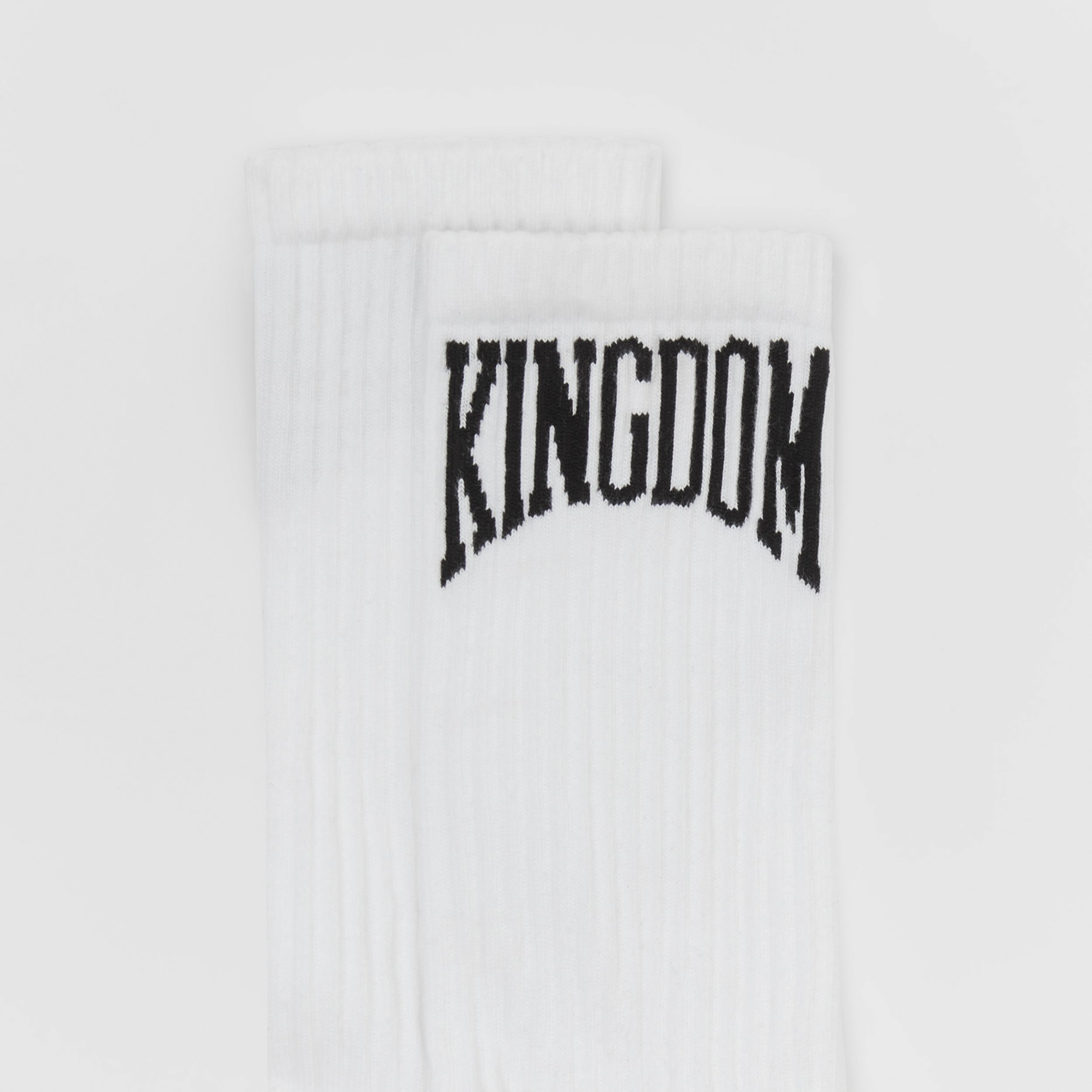 Kingdom Intarsia Cotton Blend Socks in White | Burberry Singapore - 2