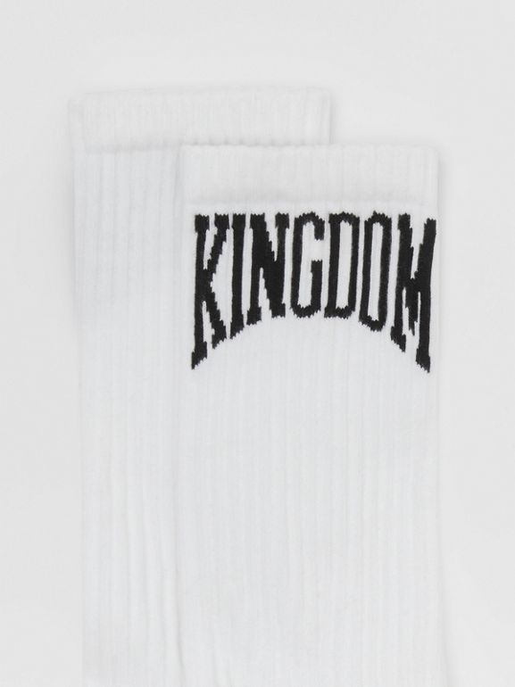 Kingdom Intarsia Cotton Blend Socks in White | Burberry - cell image 1