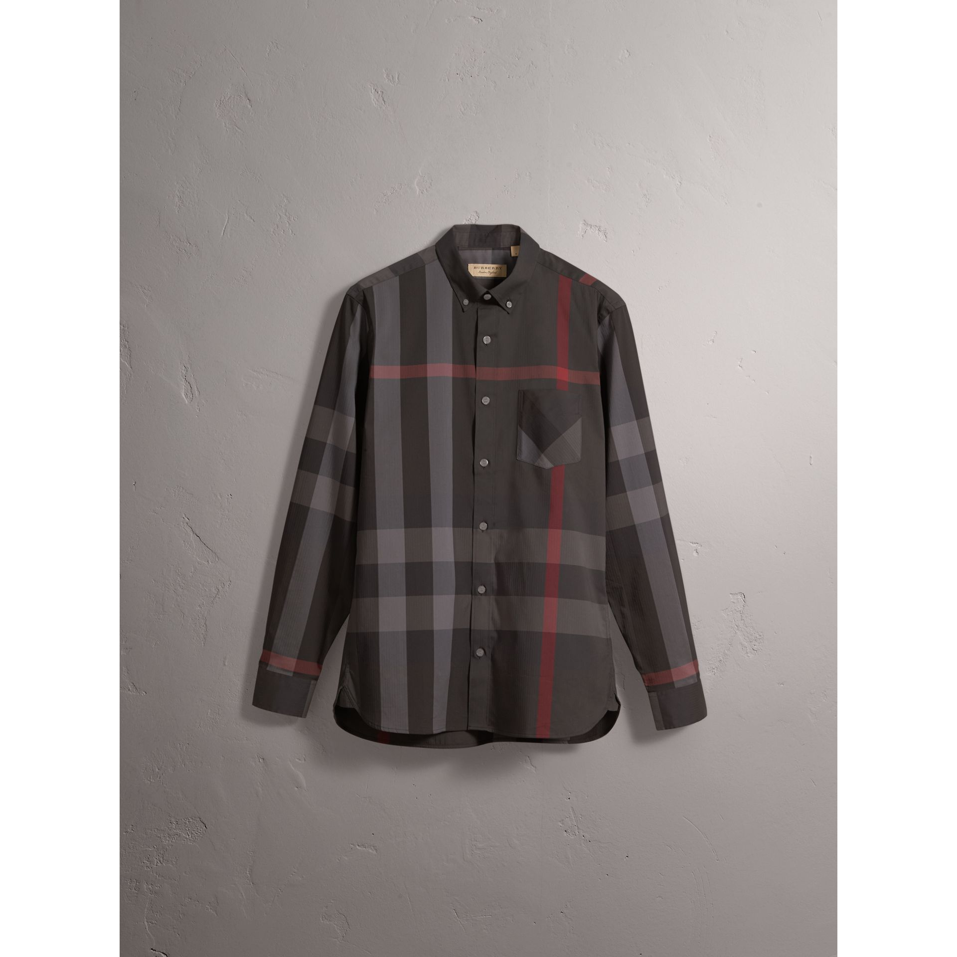 Button-down Collar Check Stretch Cotton Blend Shirt in Charcoal - Men | Burberry United Kingdom - gallery image 4