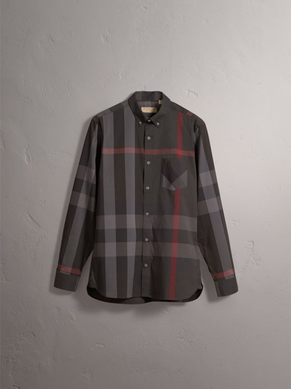 Button-down Collar Check Stretch Cotton Blend Shirt in Charcoal