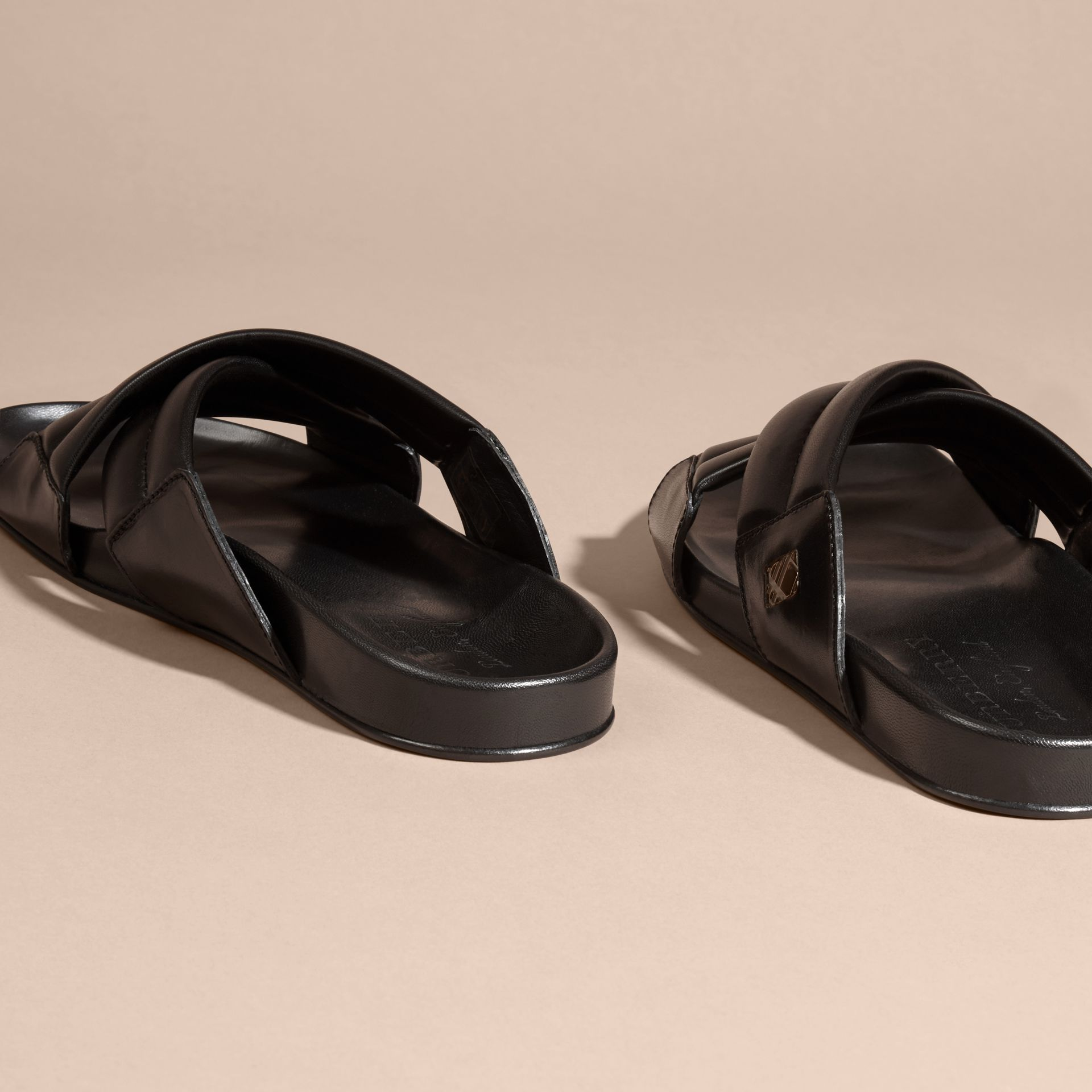 Black Check Detail Leather Sandals - gallery image 4