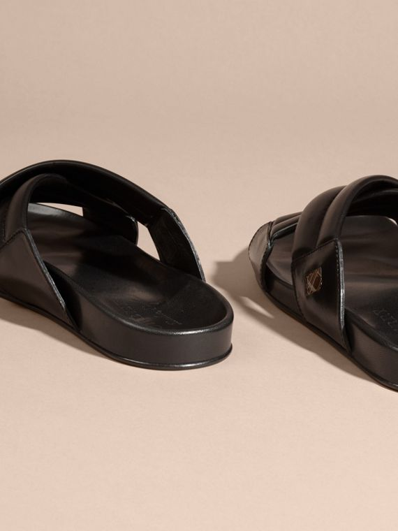 Black Check Detail Leather Sandals - cell image 3