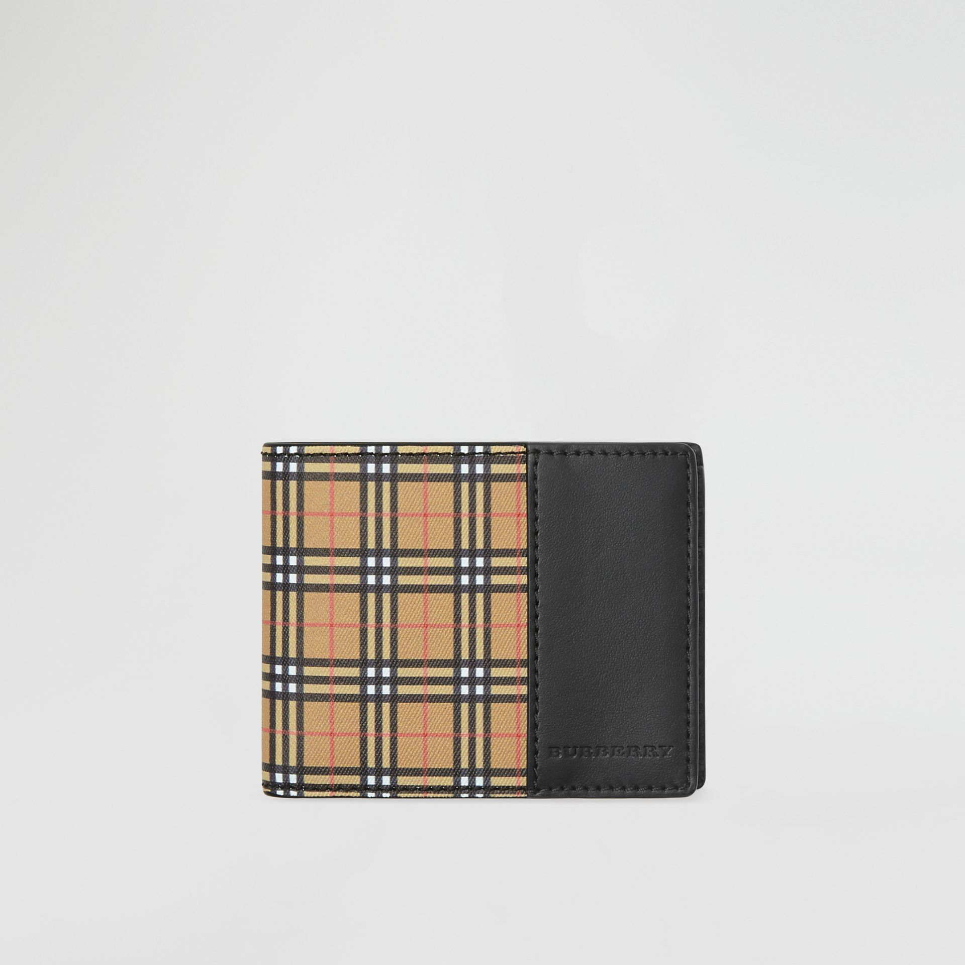 Small Scale Check and Leather Bifold Wallet in Antique Yellow/black - Men | Burberry - gallery image 0