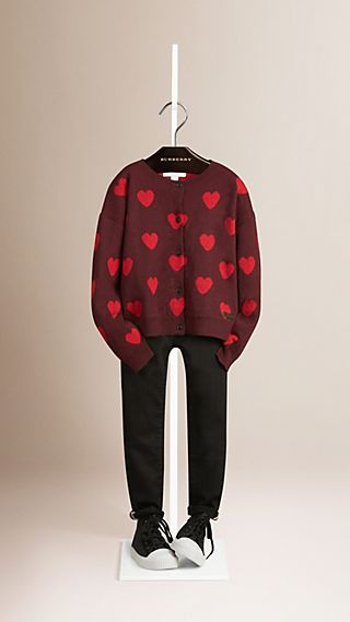 Heart Pattern Cashmere Cardigan