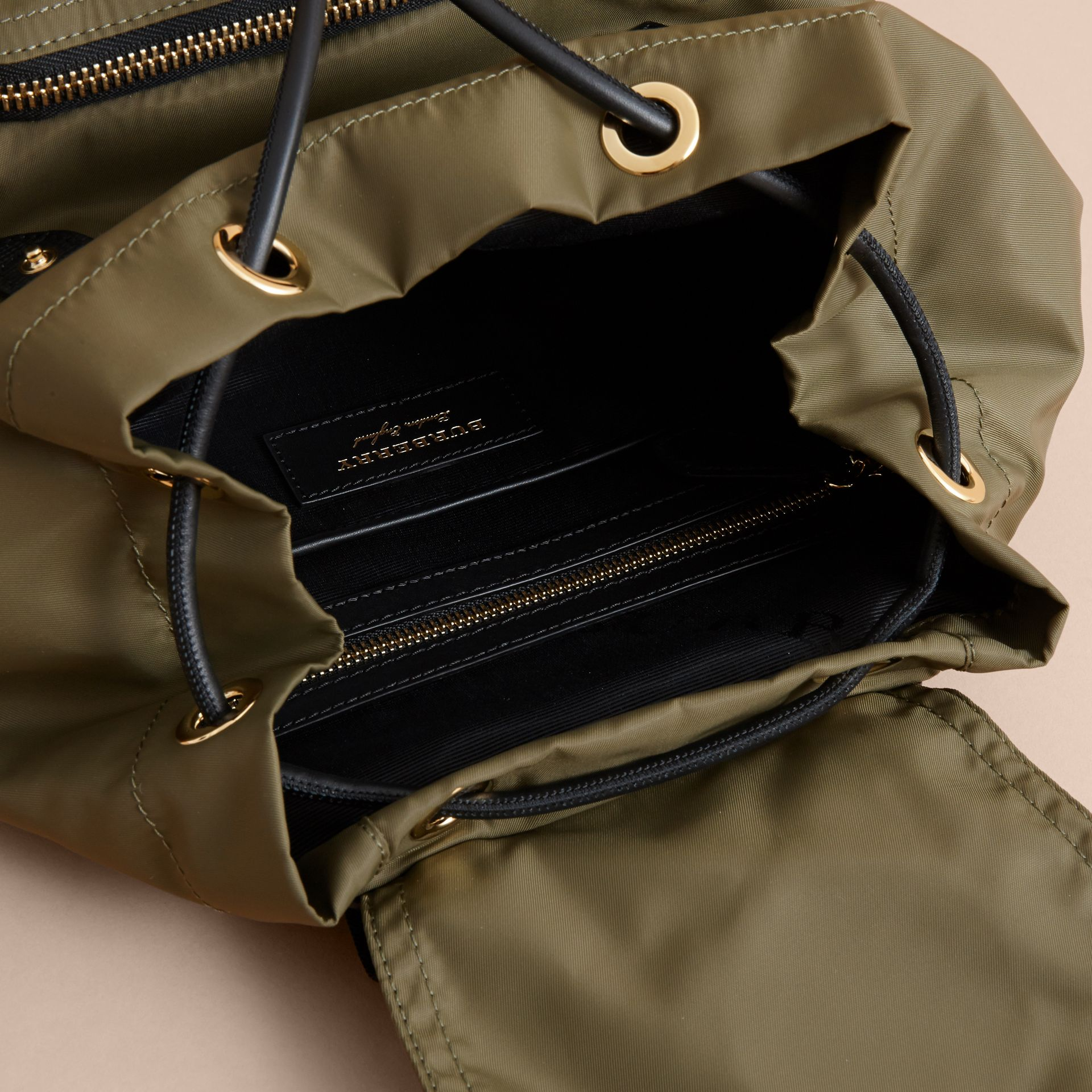 The Medium Rucksack in Technical Nylon with Pallas Heads Appliqué in Canvas Green - Women | Burberry United Kingdom - gallery image 5