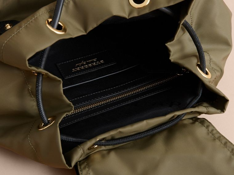 The Medium Rucksack in Technical Nylon with Pallas Heads Appliqué in Canvas Green - Women | Burberry United Kingdom - cell image 4