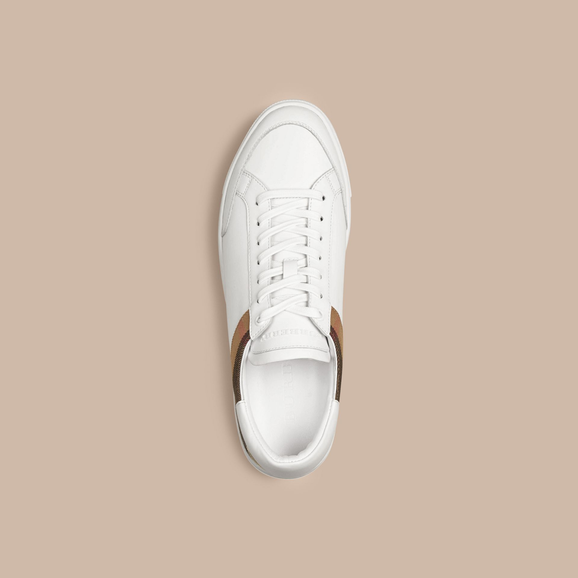 Leather and House Check Trainers in White - gallery image 3