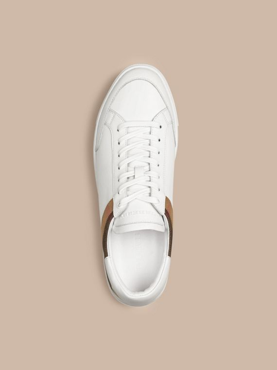 Leather and House Check Trainers in White - cell image 2