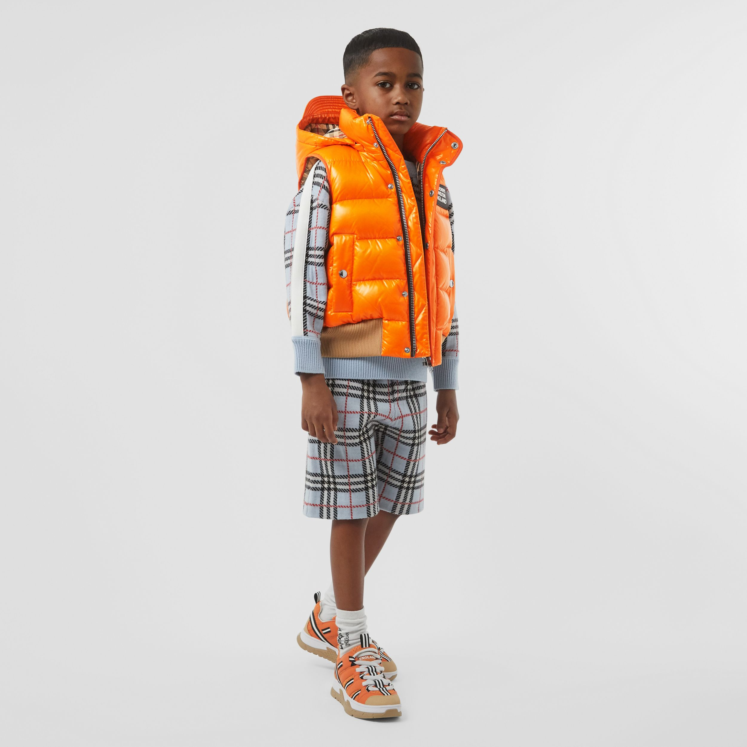 Detachable Hood Nylon Puffer Gilet in Bright Mandarin | Burberry - 4