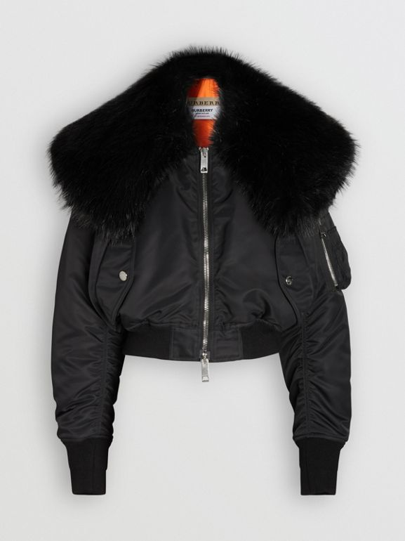 Faux Fur Collar Nylon Bomber Jacket in Black - Women | Burberry - cell image 1