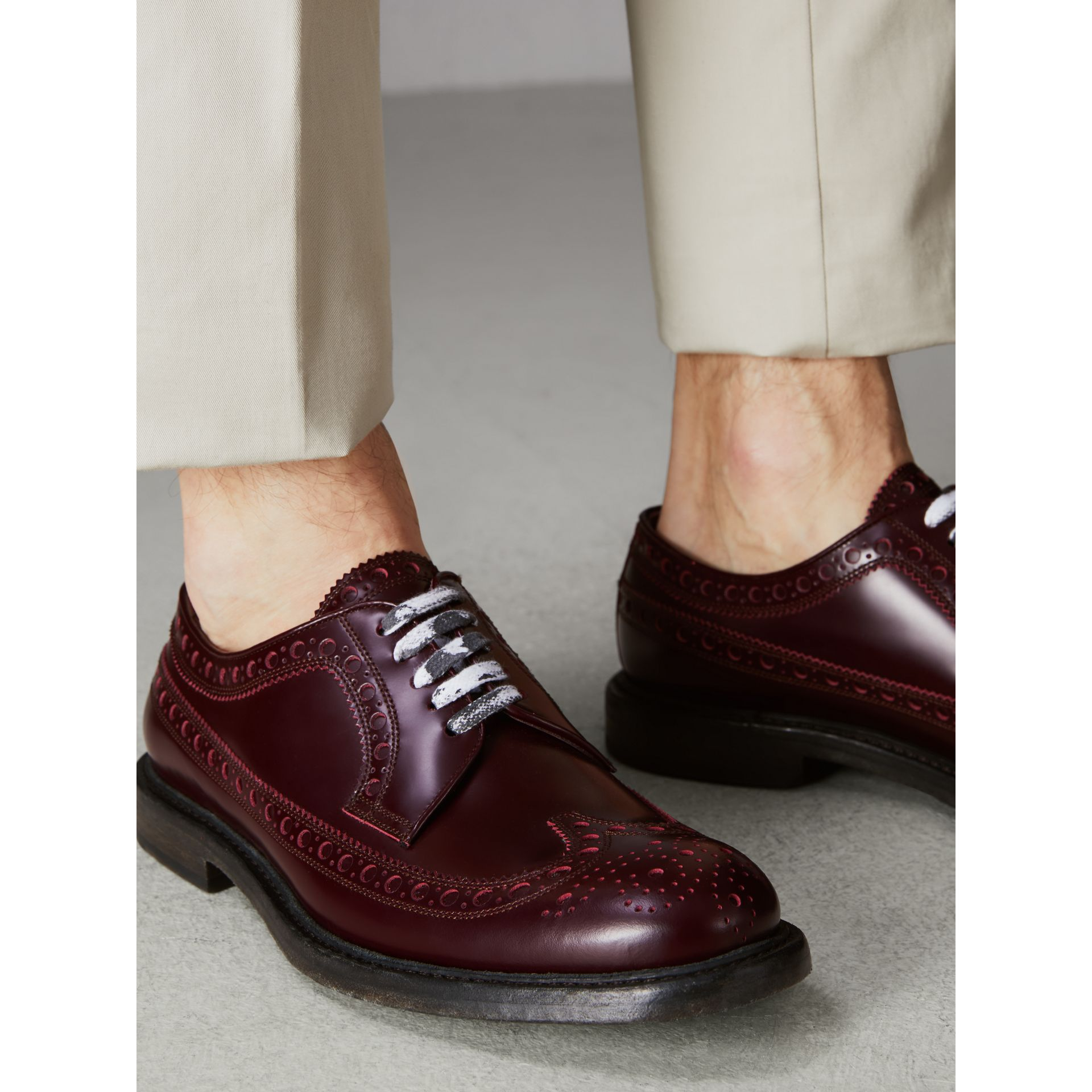 Leather Brogues with Painted Laces in Ebony Red - Men | Burberry Singapore - gallery image 2