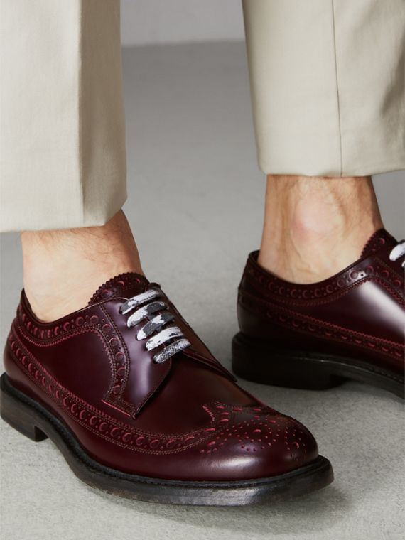 Leather Brogues with Painted Laces in Ebony Red - Men | Burberry Singapore - cell image 2