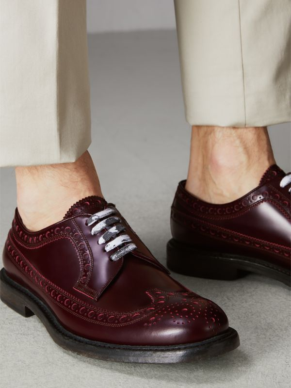 Leather Brogues with Painted Laces in Ebony Red - Men | Burberry - cell image 2