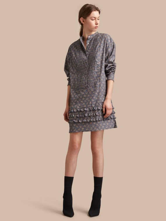 Pintuck Bib Leaf Print Cotton Shirt Dress