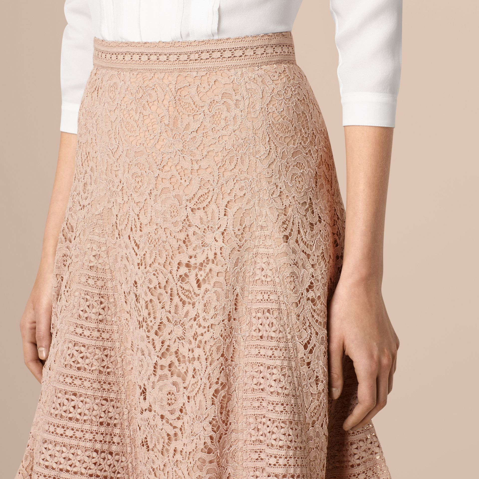 Antique taupe pink Italian Corded Lace A-Line Skirt - gallery image 2