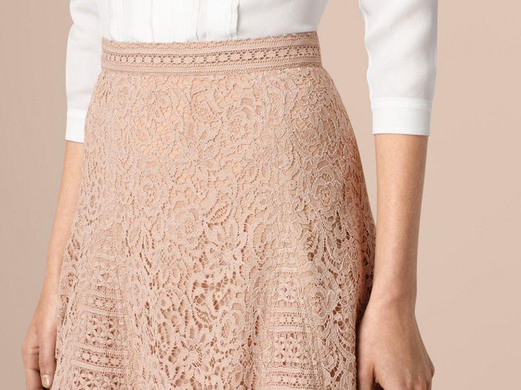 Antique taupe pink Italian Corded Lace A-Line Skirt - cell image 1
