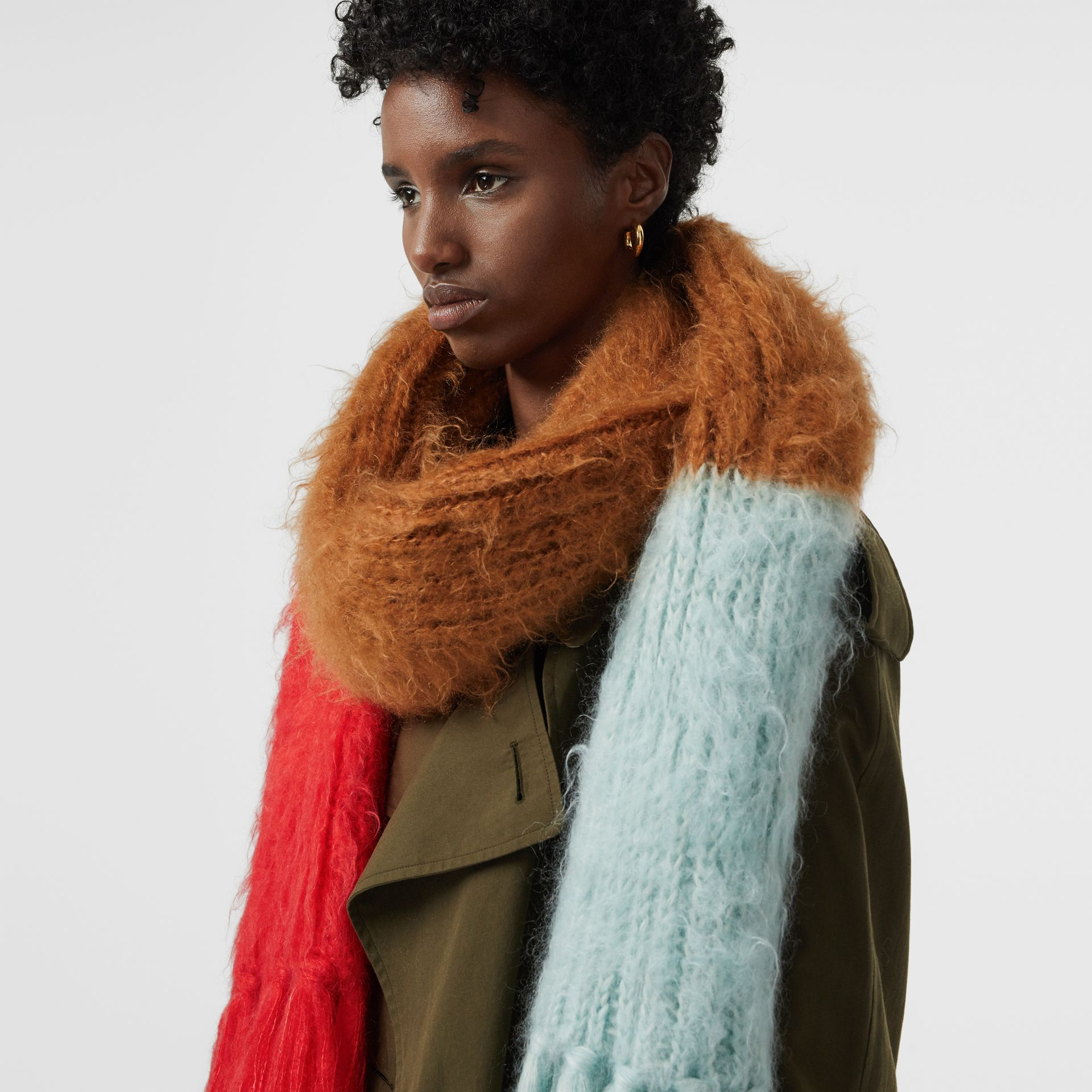 Colour Block Chunky Knit Mohair Silk Scarf in Sand - Women | Burberry - gallery image 5