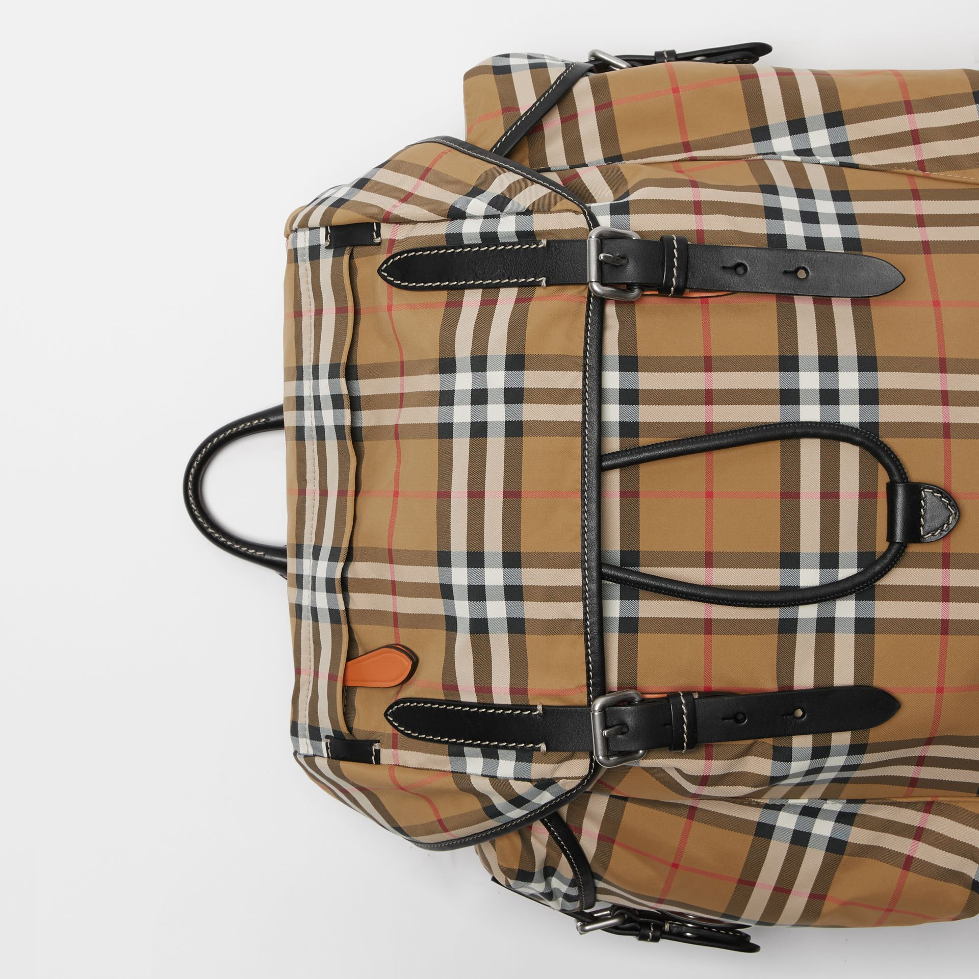 Vintage Check and Leather Backpack in Antique Yellow - Men | Burberry - gallery image 1