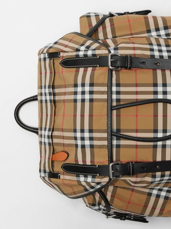 Vintage Check and Leather Backpack in Antique Yellow - Men | Burberry - cell image 1