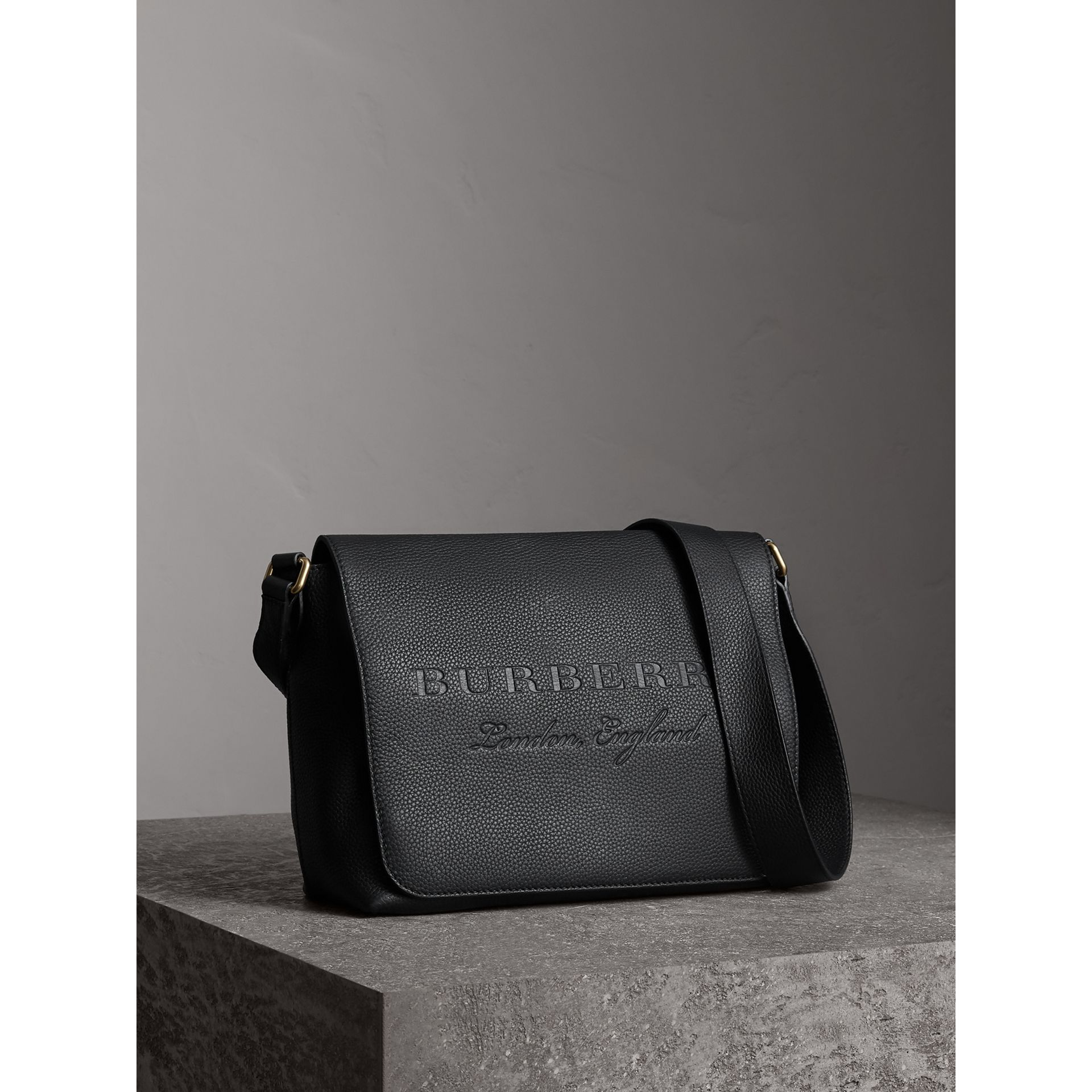 Medium Embossed Leather Messenger Bag in Black - Women | Burberry - gallery image 6