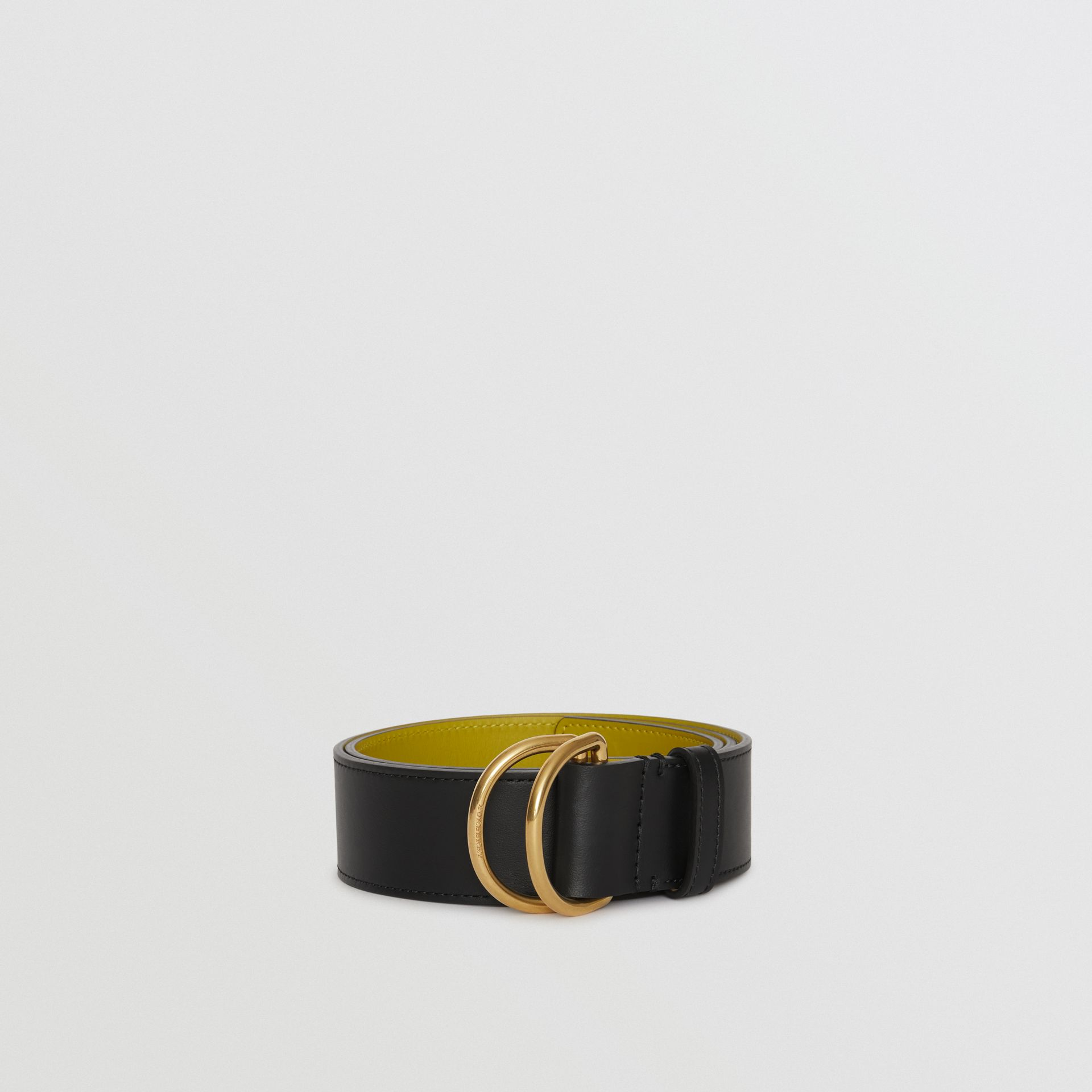 Leather Double D-ring Belt in Black/lemon Quartz - Women | Burberry - gallery image 2