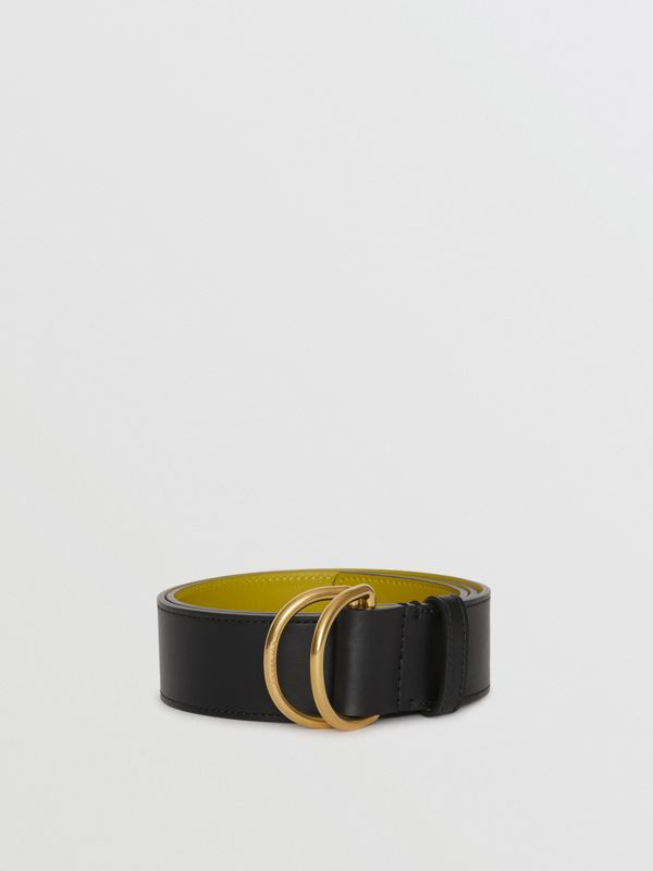 Leather Double D-ring Belt in Black/lemon Quartz - Women | Burberry - cell image 2