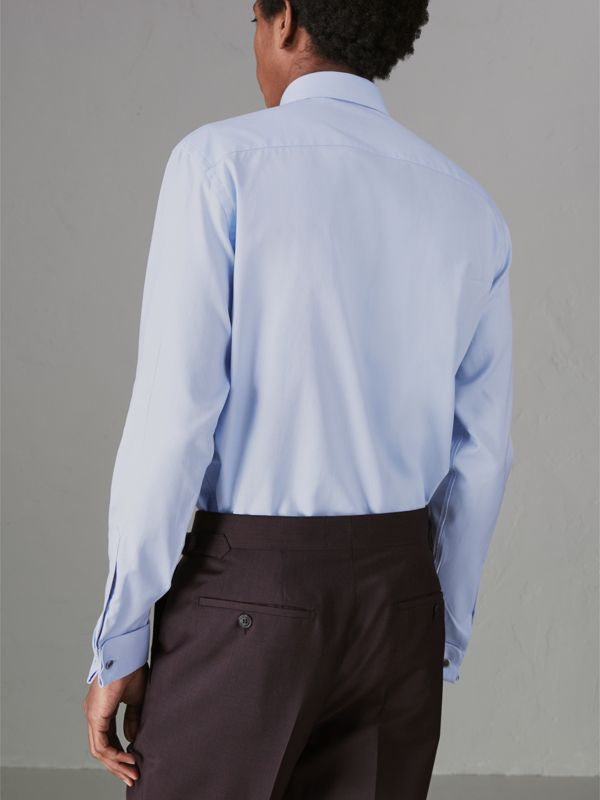 Modern Fit Double Cuff Cotton Shirt in Mid Blue - Men | Burberry Singapore - cell image 2