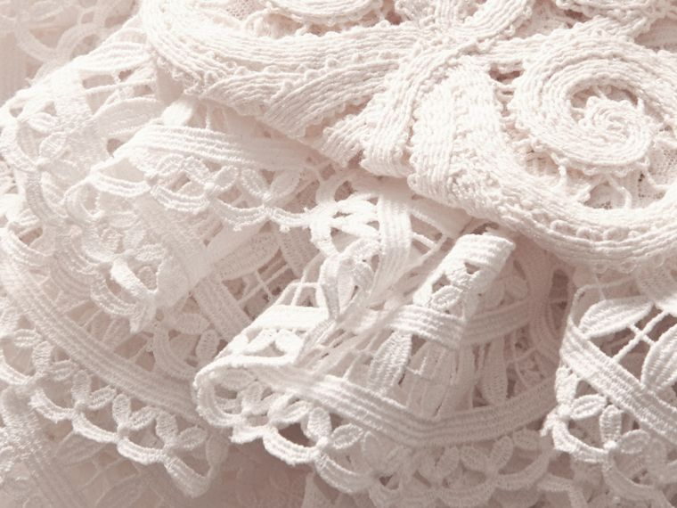 Lace Capelet with Shearling Collar in White - Women | Burberry - cell image 1