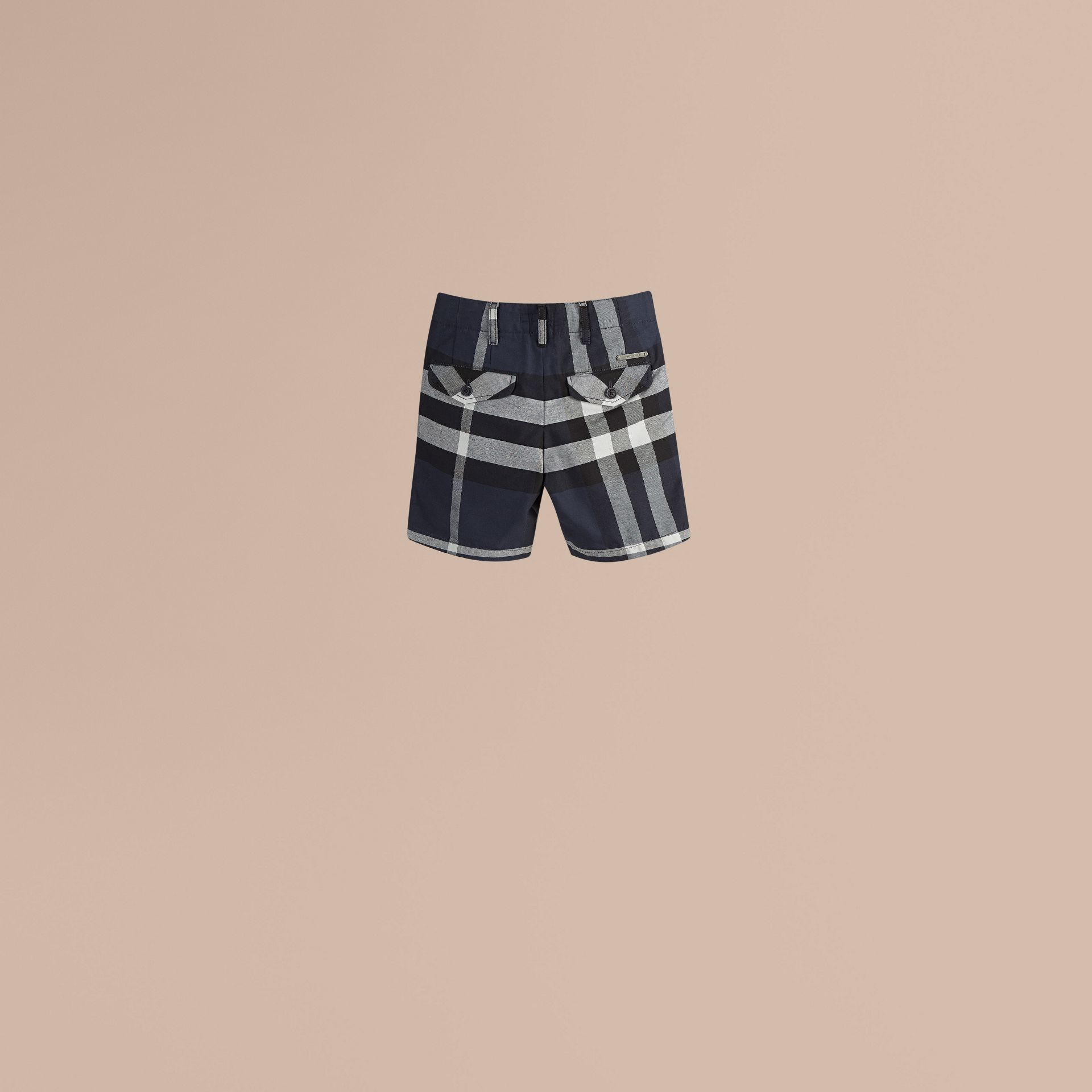 Check Cotton Chino Shorts in Navy - Boy | Burberry - gallery image 1