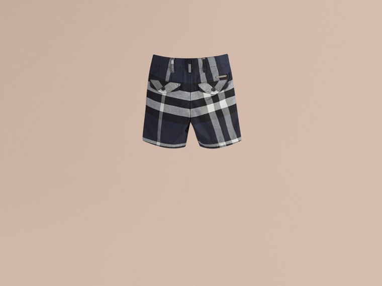 Check Cotton Chino Shorts in Navy - Boy | Burberry - cell image 1