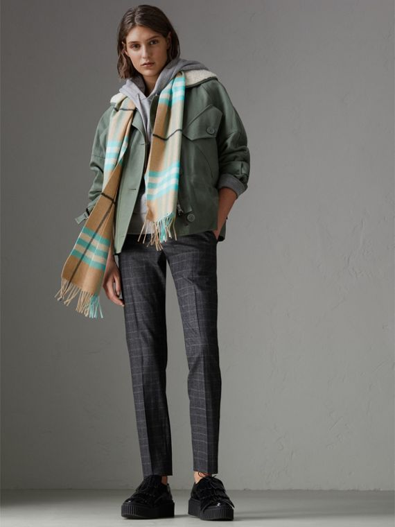 Check Cashmere Scarf in Bright Aqua | Burberry - cell image 2