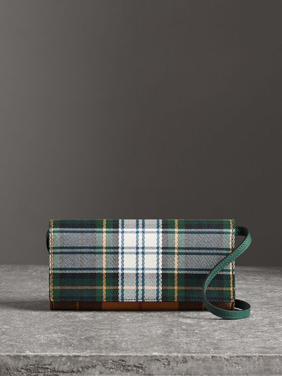 Tartan Cotton and Leather Wallet with Chain in Green/multicolour