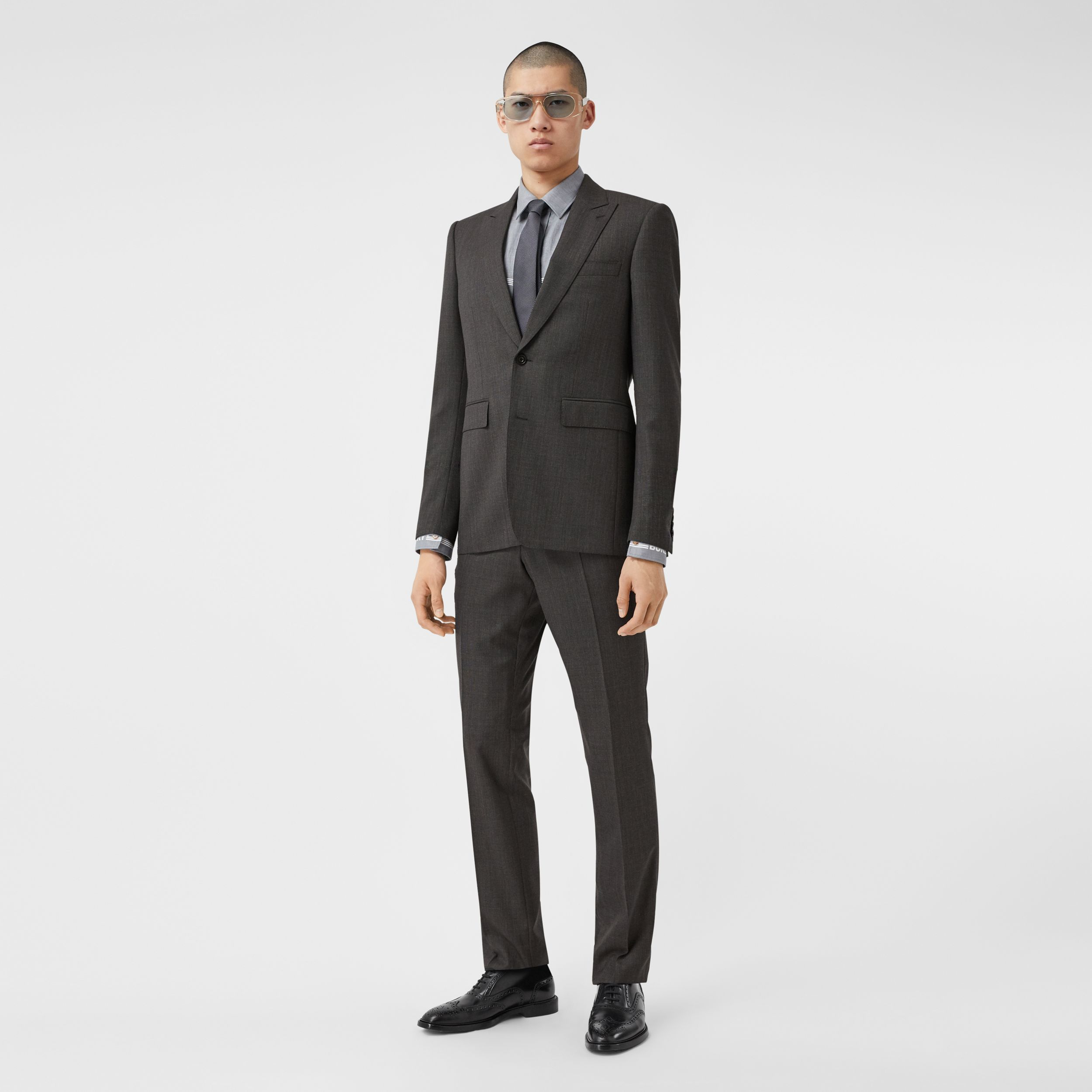 Classic Fit Broken Wool Twill Suit in Mid Grey - Men | Burberry - 1