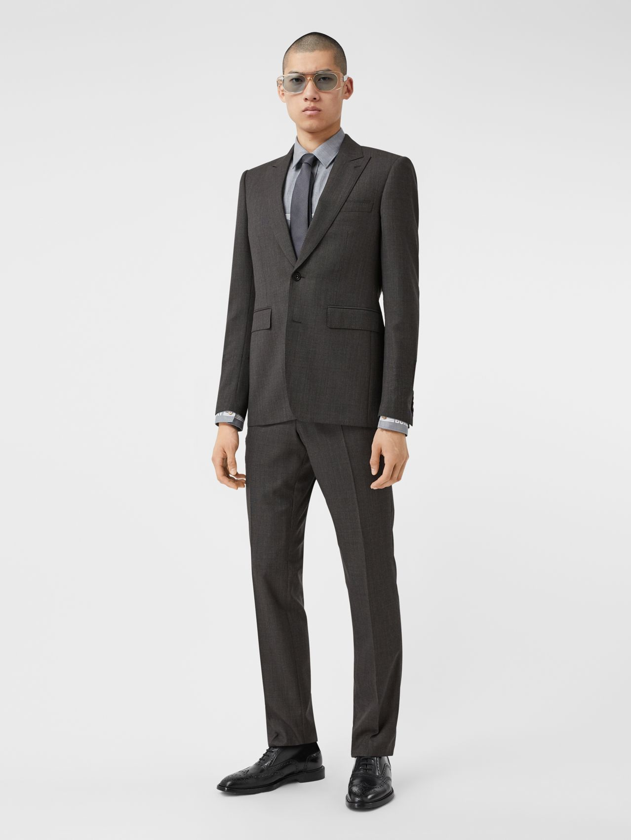 Classic Fit Broken Wool Twill Suit in Mid Grey