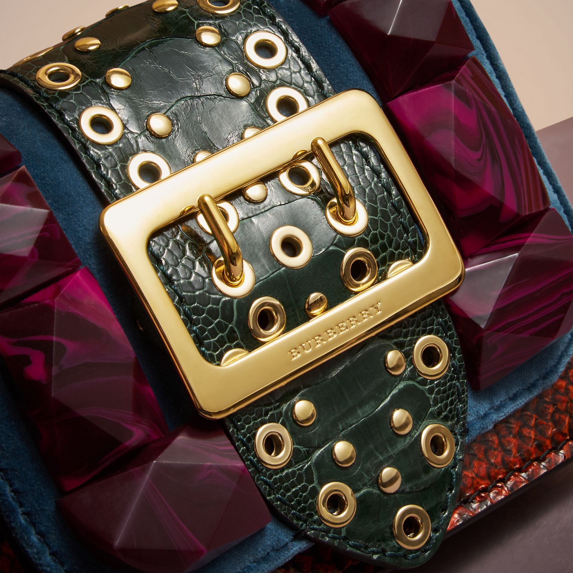 The Mini Square Buckle Bag in Velvet and Ostrich in Brilliant Blue - Women | Burberry - gallery image 1