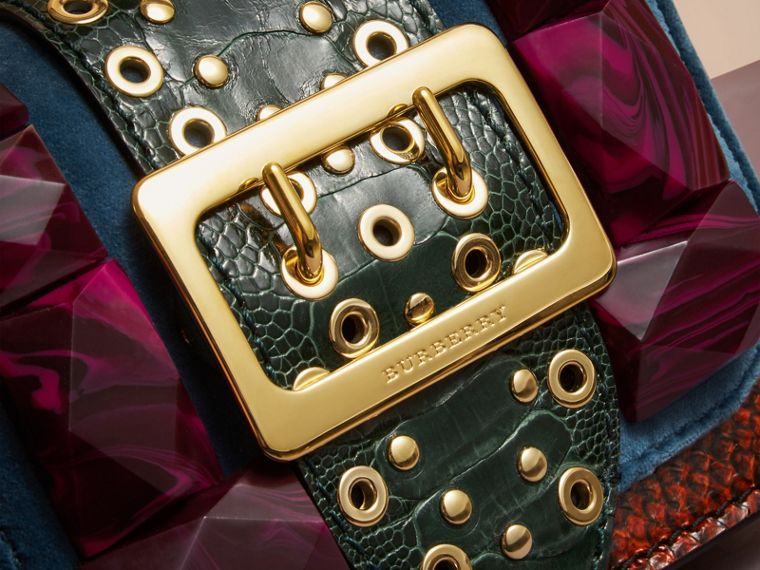 The Mini Square Buckle Bag in Velvet and Ostrich - cell image 1