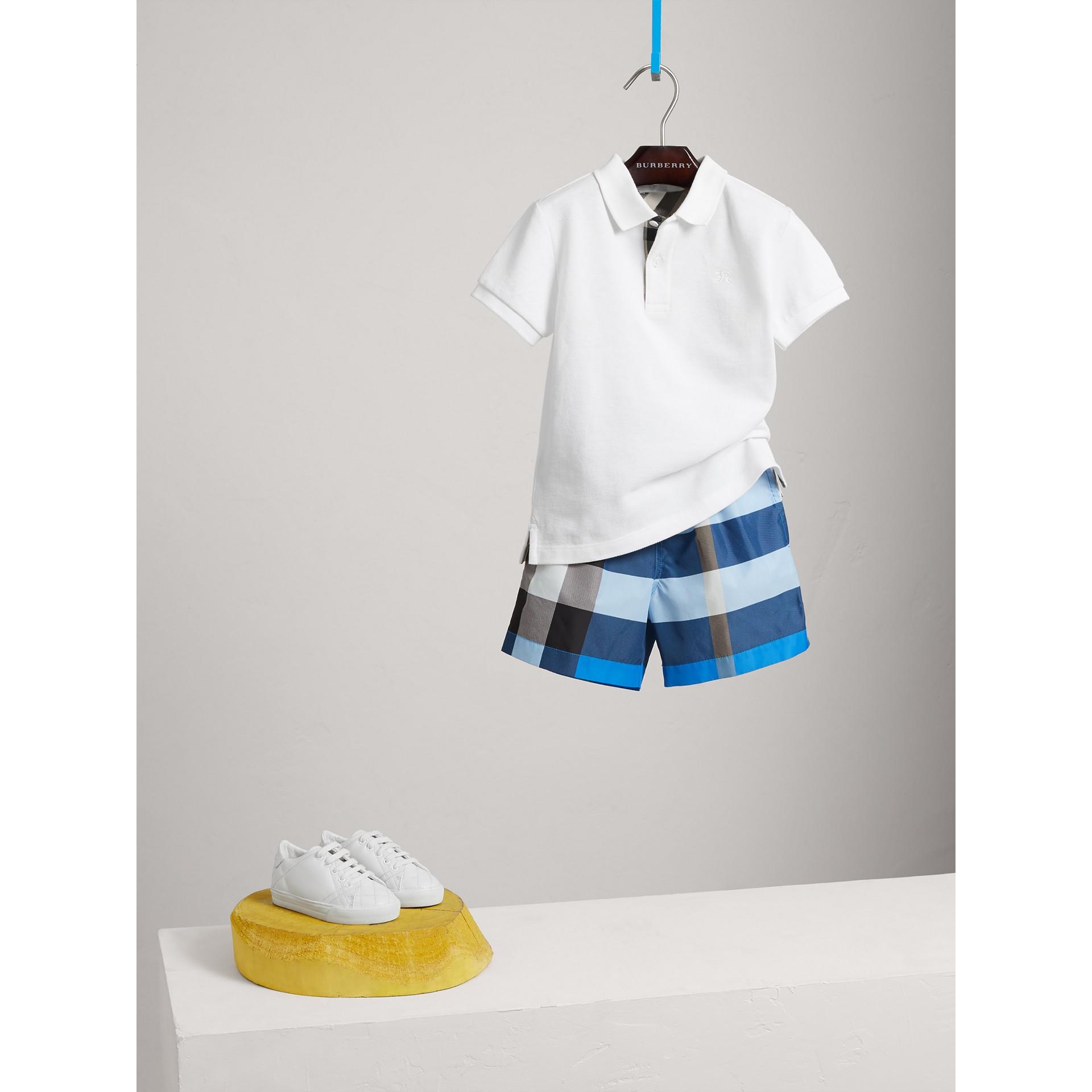 Check Swim Shorts in Cerulean Blue - Boy | Burberry United Kingdom - gallery image 2