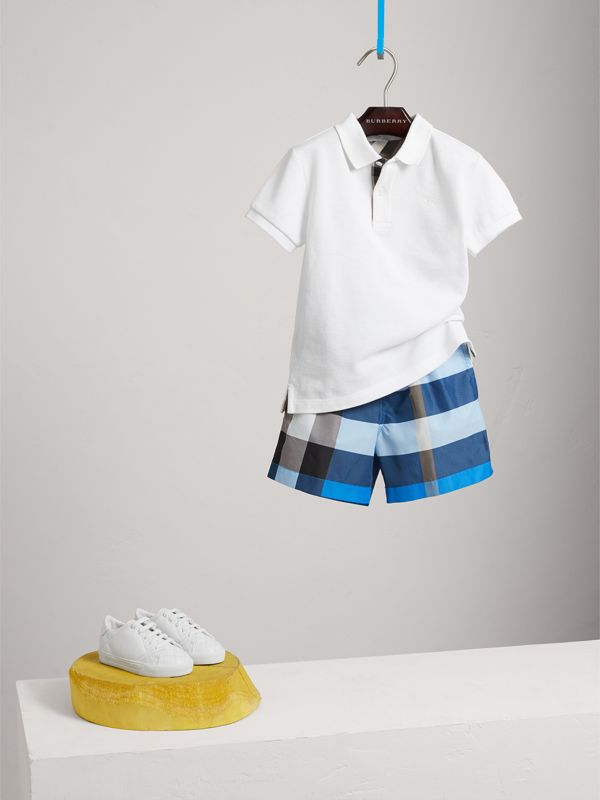 Check Swim Shorts in Cerulean Blue | Burberry - cell image 2